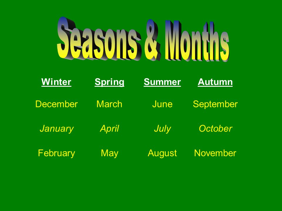 Seasons & Months Winter Spring Summer Autumn December March June