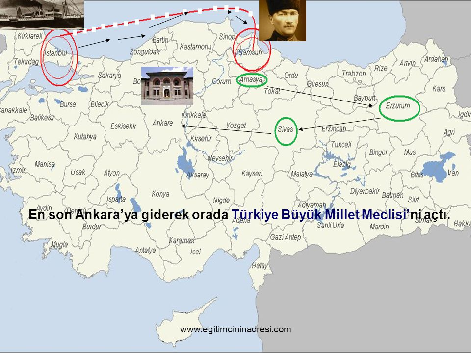 En son Ankara'ya giderek orada Türkiye Büyük Millet Meclisi'ni açtı.