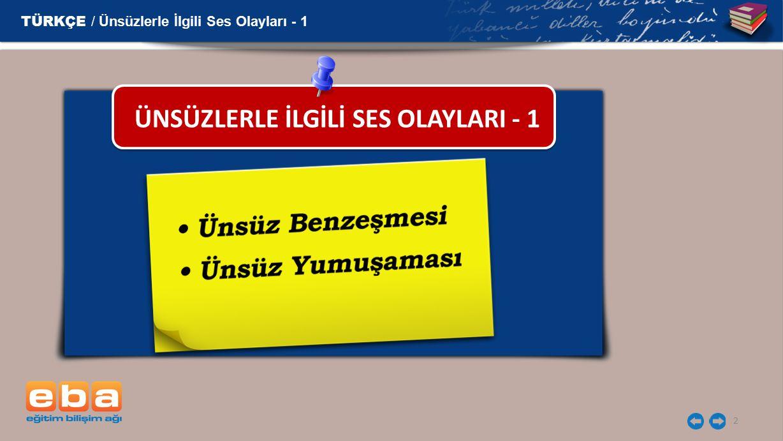ÜNSÜZLERLE İLGİLİ SES OLAYLARI - 1
