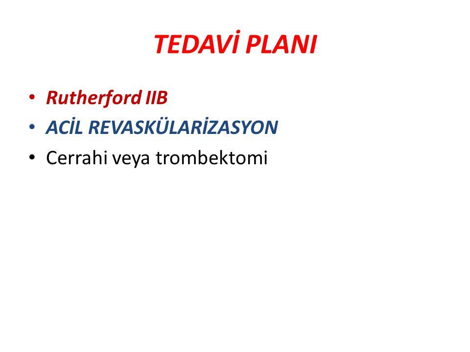 TEDAVİ PLANI Rutherford IIB ACİL REVASKÜLARİZASYON