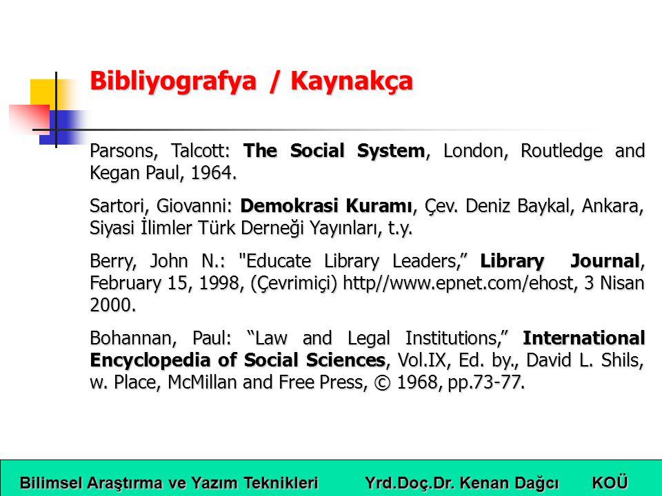 Bibliyografya / Kaynakça
