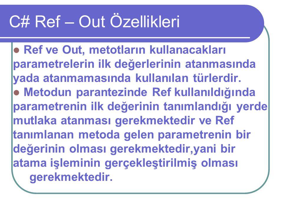 C# Ref – Out Özellikleri
