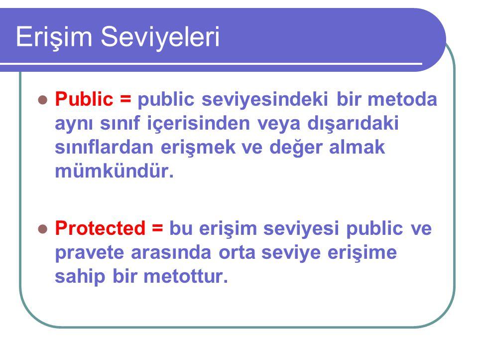 Erişim Seviyeleri Public = public seviyesindeki bir metoda aynı sınıf içerisinden veya dışarıdaki sınıflardan erişmek ve değer almak mümkündür.