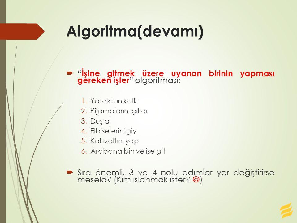 Algoritma(devamı) İşine gitmek üzere uyanan birinin yapması gereken işler algoritması: Yataktan kalk.