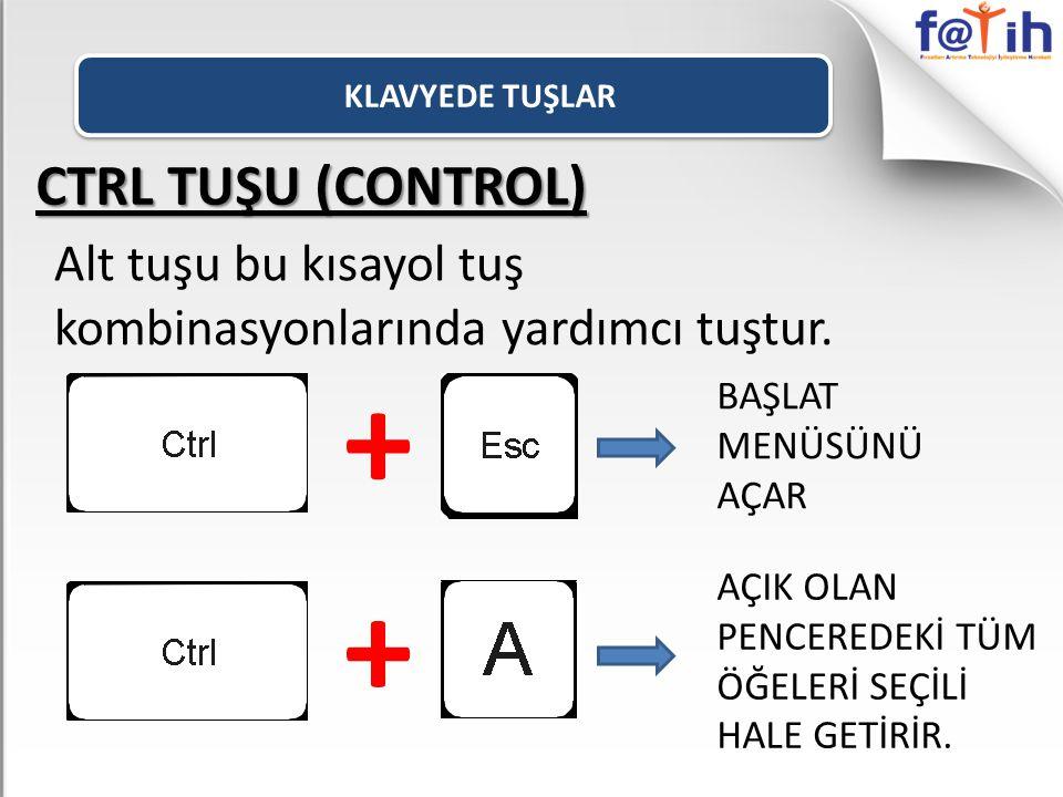 KLAVYEDE TUŞLAR CTRL TUŞU (CONTROL) Alt tuşu bu kısayol tuş kombinasyonlarında yardımcı tuştur. +