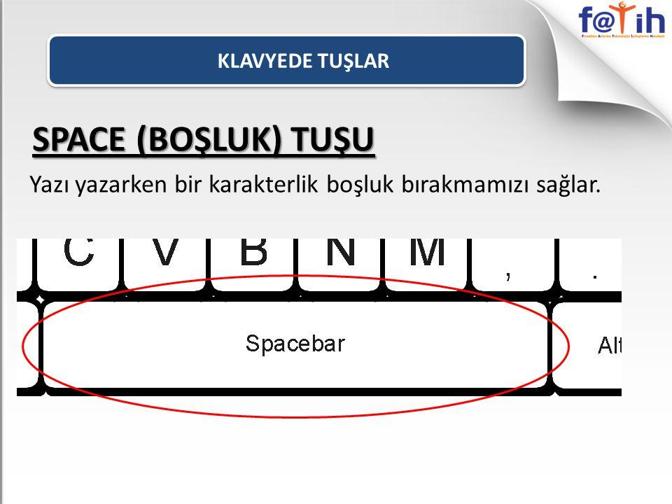 KLAVYEDE TUŞLAR SPACE (BOŞLUK) TUŞU Yazı yazarken bir karakterlik boşluk bırakmamızı sağlar.