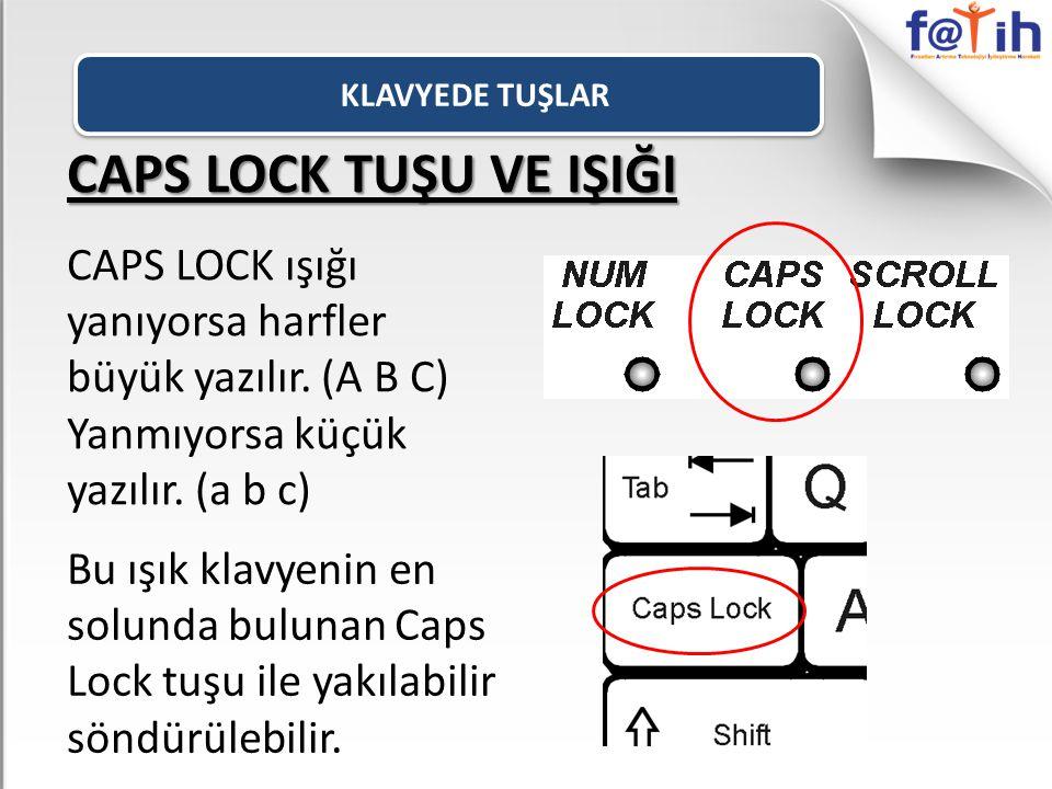 KLAVYEDE TUŞLAR CAPS LOCK TUŞU VE IŞIĞI. CAPS LOCK ışığı yanıyorsa harfler büyük yazılır. (A B C) Yanmıyorsa küçük yazılır. (a b c)