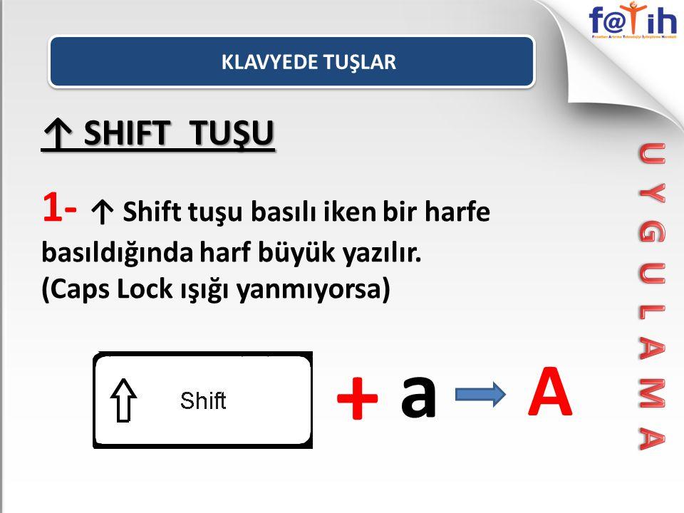KLAVYEDE TUŞLAR ↑ SHIFT TUŞU. 1- ↑ Shift tuşu basılı iken bir harfe basıldığında harf büyük yazılır.