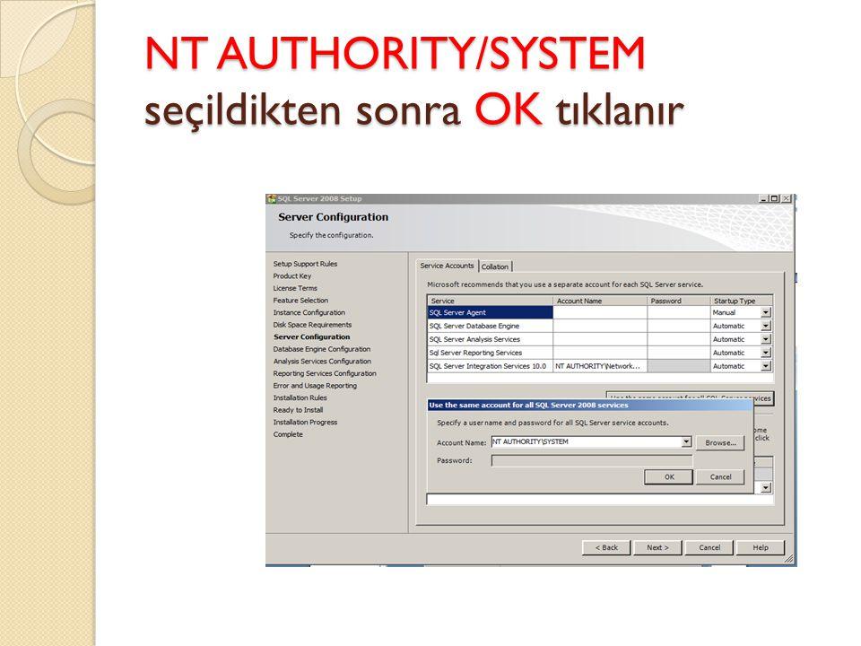 NT AUTHORITY/SYSTEM seçildikten sonra OK tıklanır