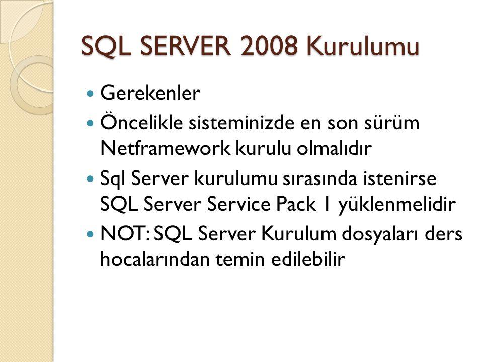 SQL SERVER 2008 Kurulumu Gerekenler
