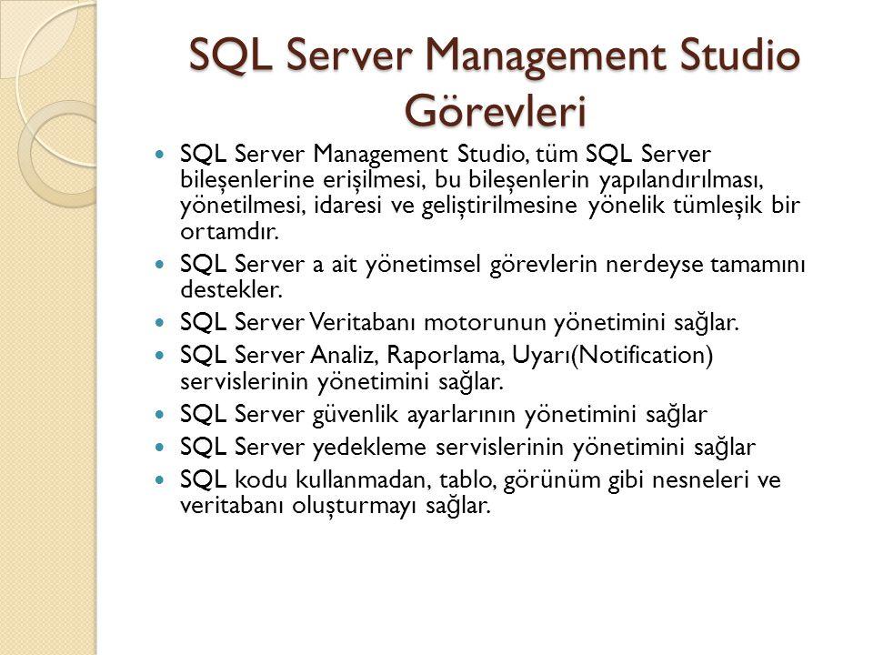 SQL Server Management Studio Görevleri