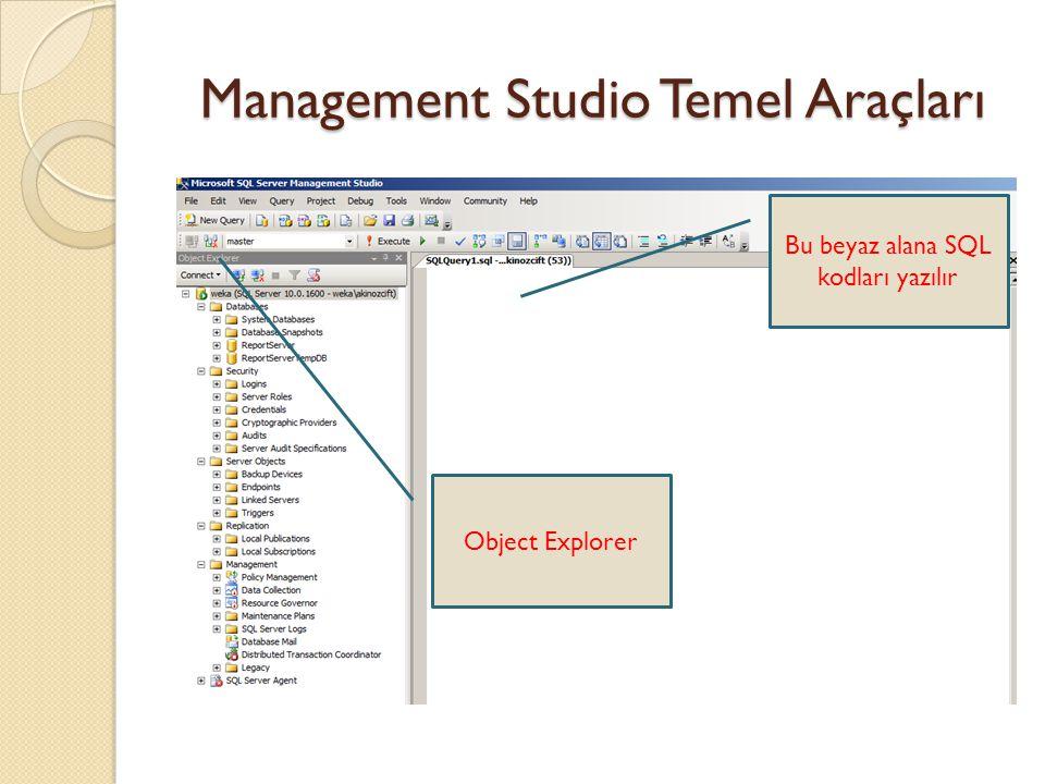 Management Studio Temel Araçları