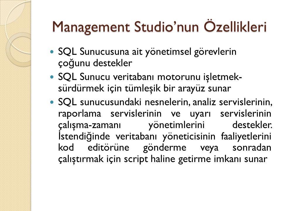 Management Studio'nun Özellikleri