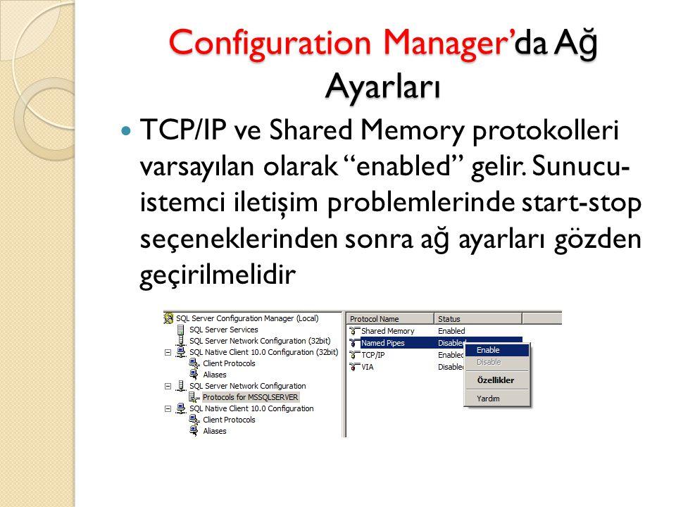 Configuration Manager'da Ağ Ayarları
