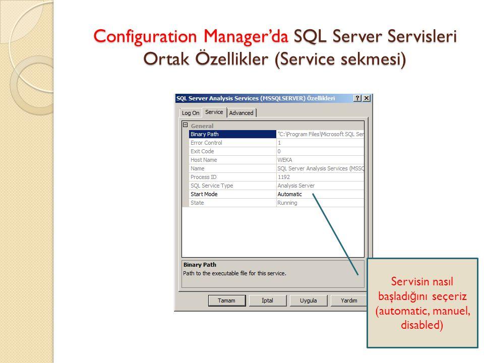 Configuration Manager'da SQL Server Servisleri Ortak Özellikler (Service sekmesi)