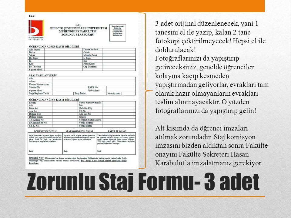 Zorunlu Staj Formu- 3 adet