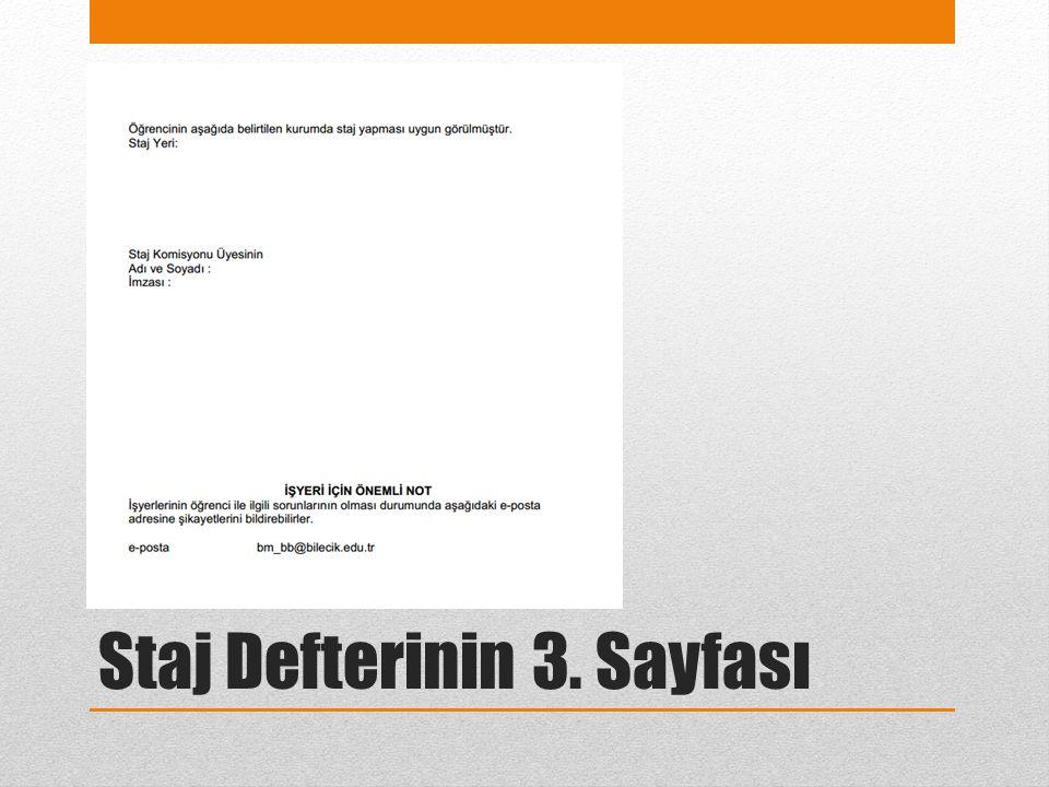 Staj Defterinin 3. Sayfası