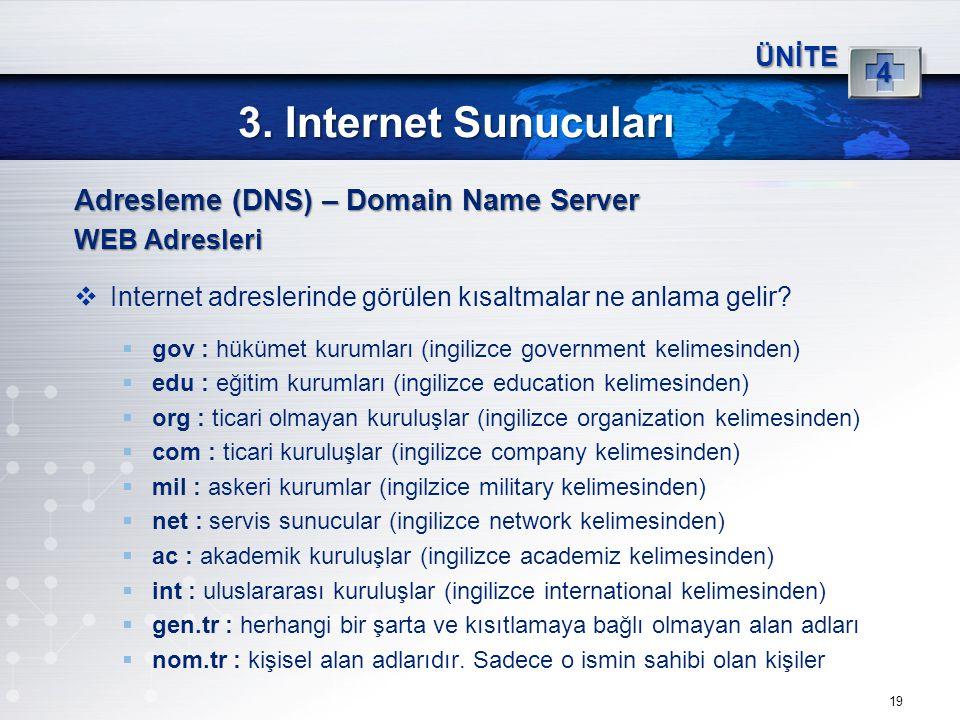 3. Internet Sunucuları Adresleme (DNS) – Domain Name Server 4 ÜNİTE