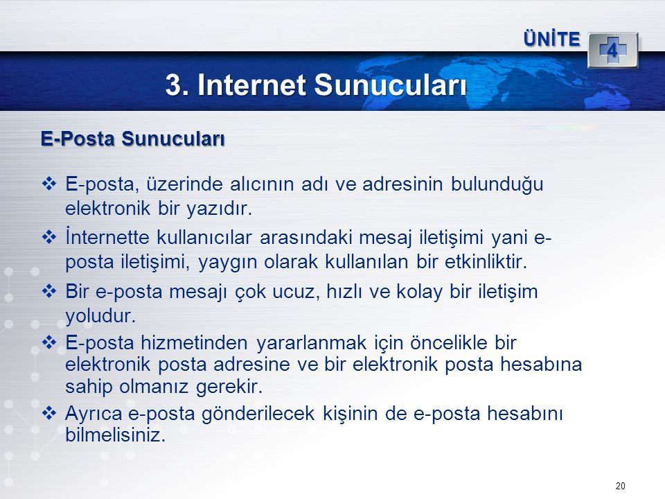 3. Internet Sunucuları E-Posta Sunucuları