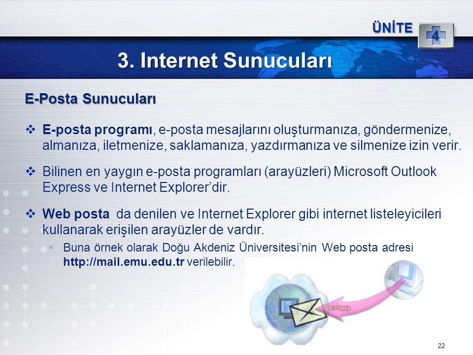 3. Internet Sunucuları E-Posta Sunucuları 4 ÜNİTE