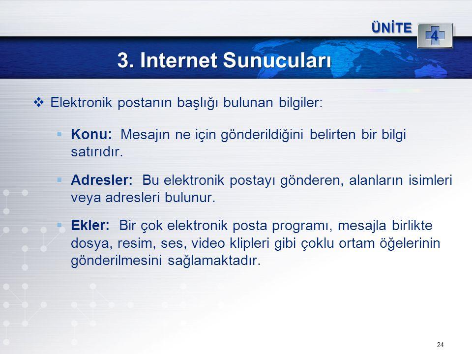 3. Internet Sunucuları Elektronik postanın başlığı bulunan bilgiler: