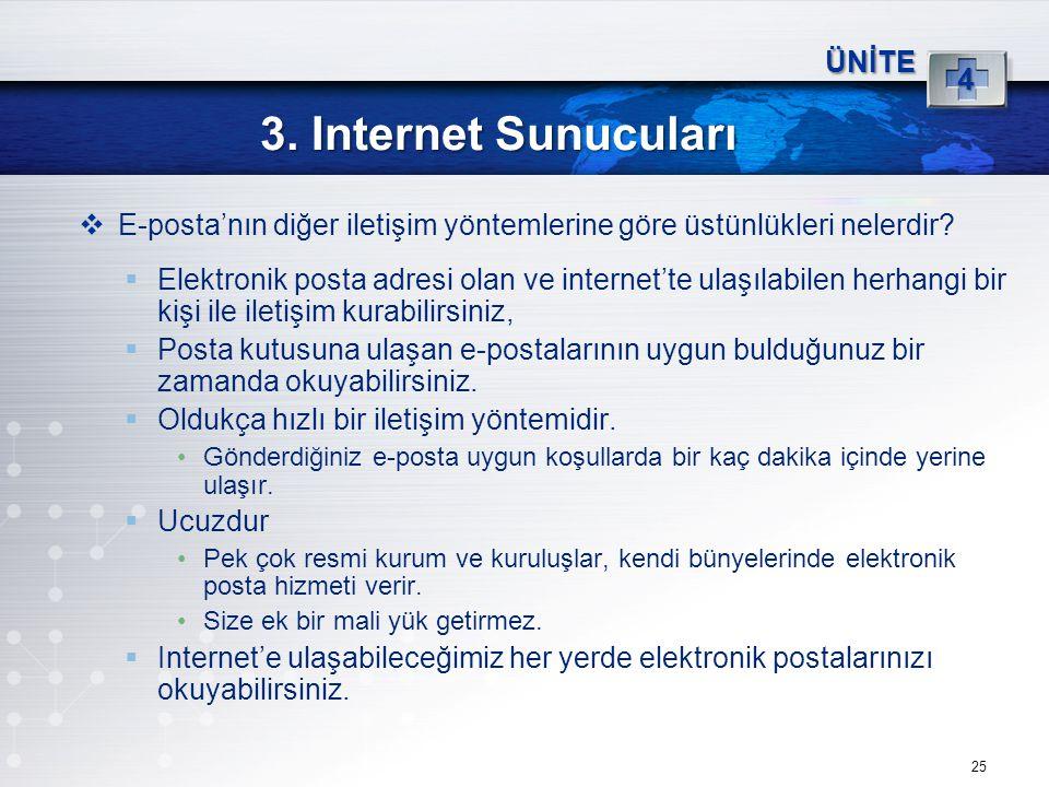 3. Internet Sunucuları 4 ÜNİTE