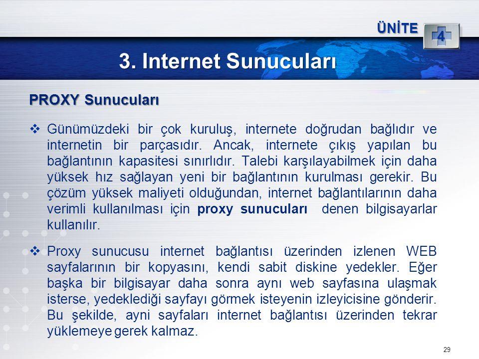 3. Internet Sunucuları PROXY Sunucuları 4 ÜNİTE