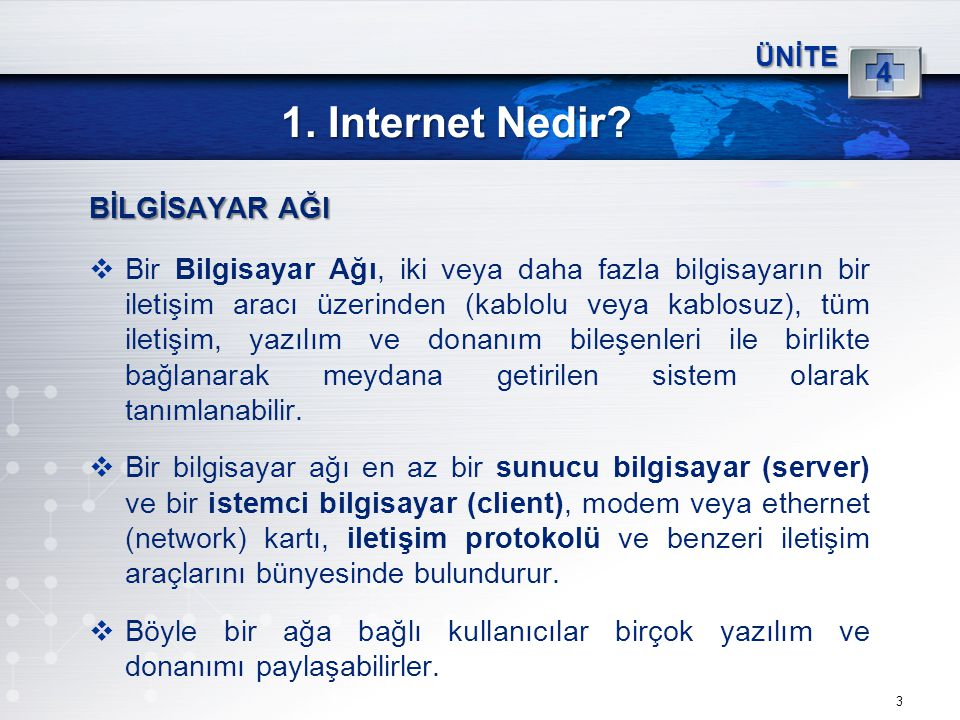 1. Internet Nedir BİLGİSAYAR AĞI