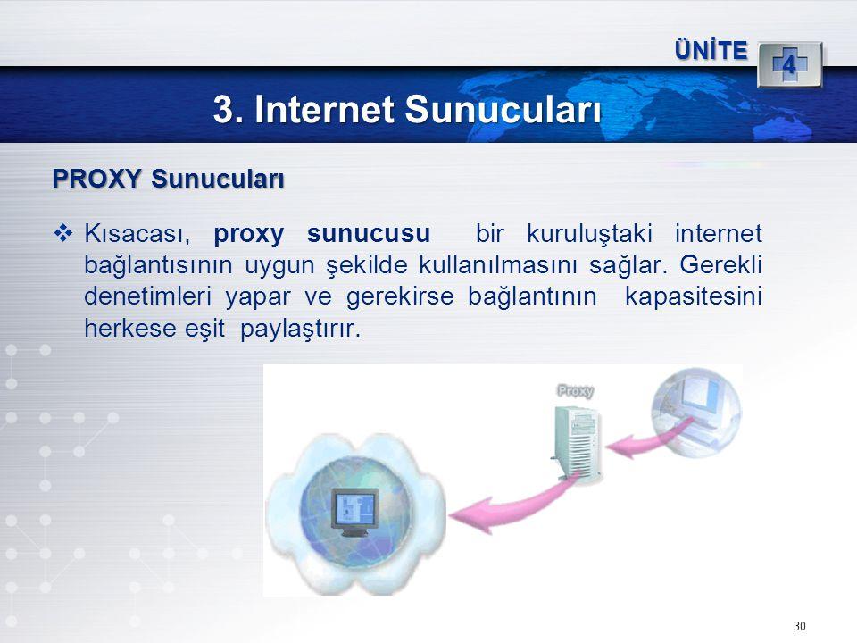 3. Internet Sunucuları PROXY Sunucuları