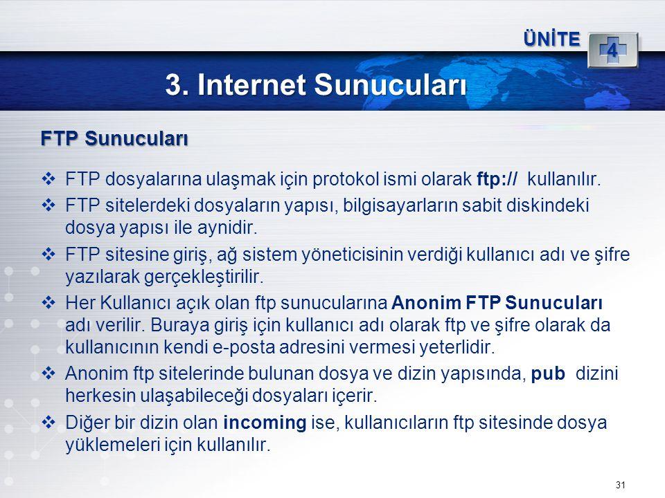 3. Internet Sunucuları FTP Sunucuları 4 ÜNİTE