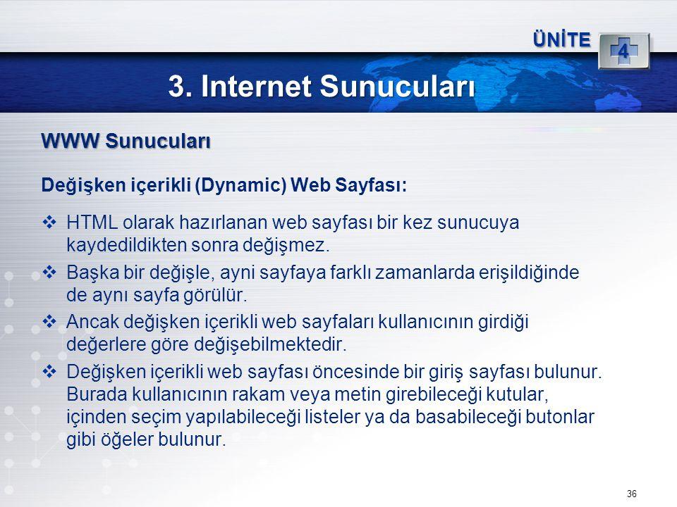 3. Internet Sunucuları WWW Sunucuları 4 ÜNİTE