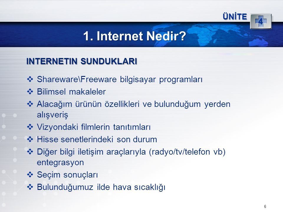 1. Internet Nedir INTERNETIN SUNDUKLARI