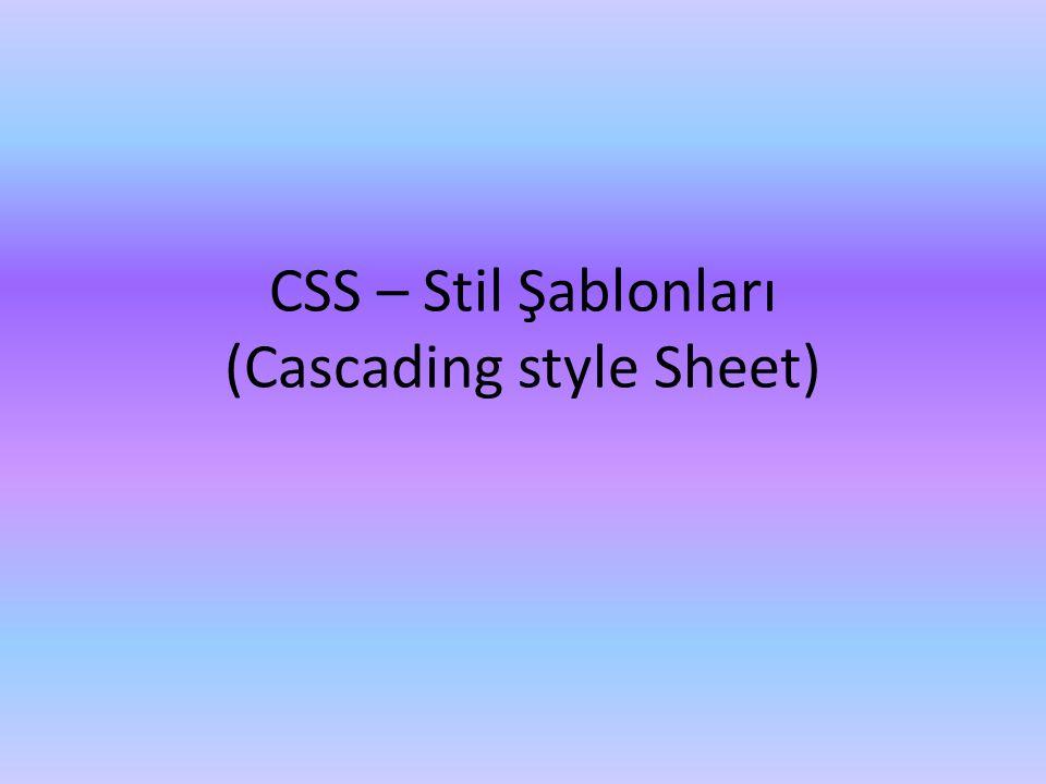 CSS – Stil Şablonları (Cascading style Sheet)