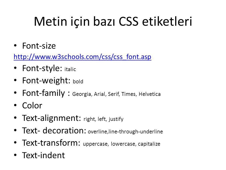 Metin için bazı CSS etiketleri