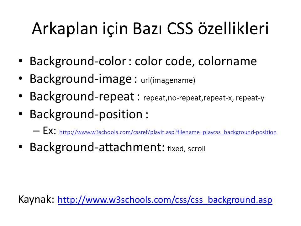 Arkaplan için Bazı CSS özellikleri