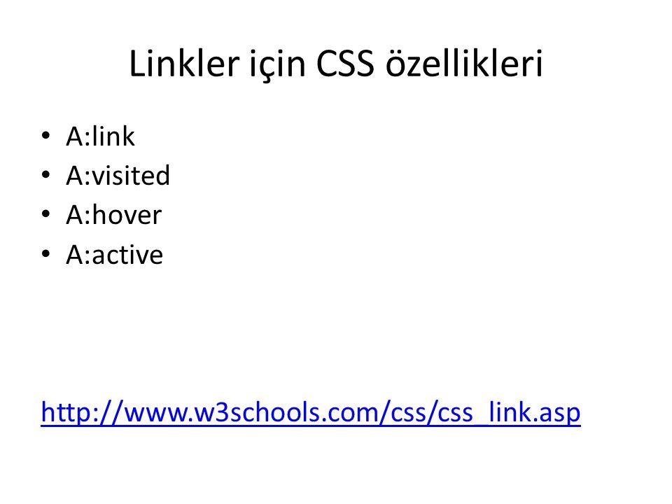 Linkler için CSS özellikleri