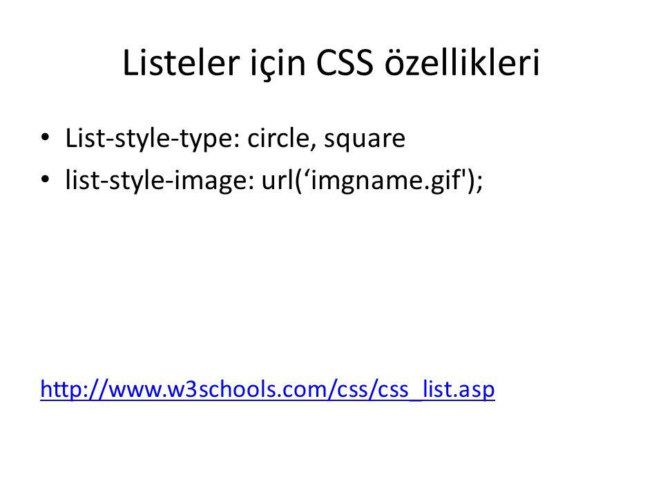 Listeler için CSS özellikleri