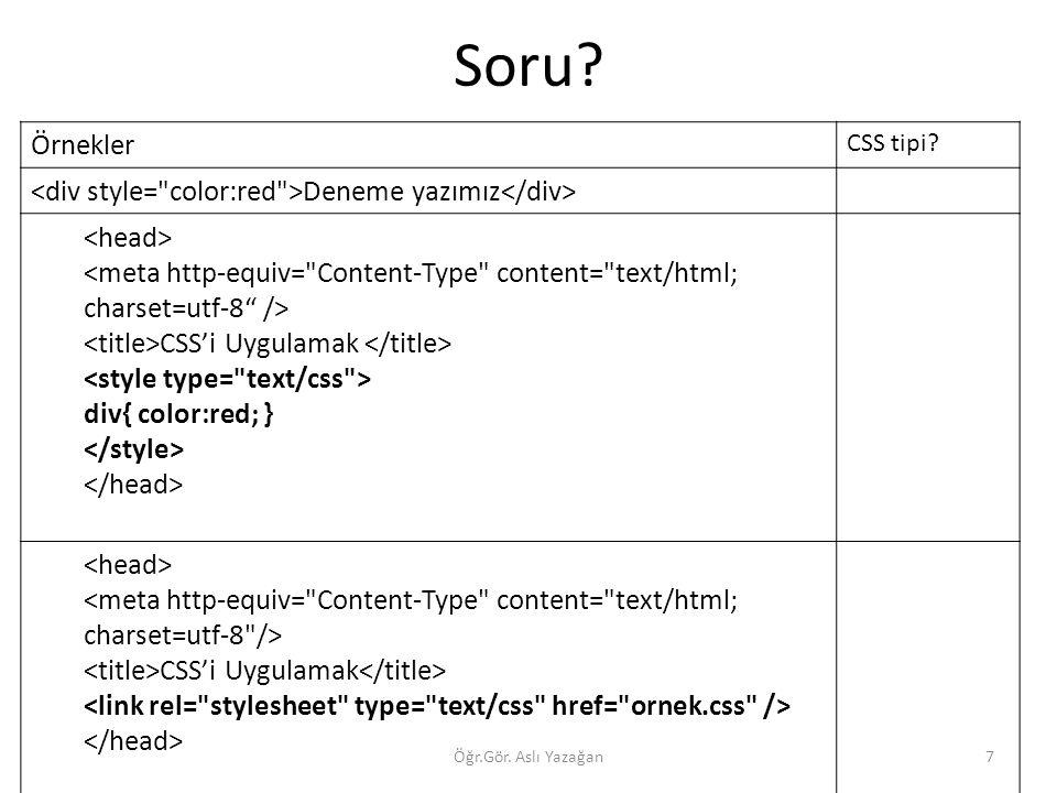 Soru Örnekler <div style= color:red >Deneme yazımız</div>