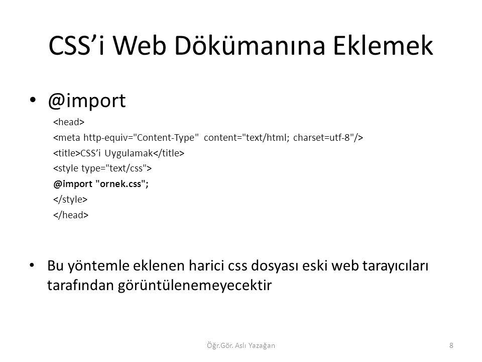 CSS'i Web Dökümanına Eklemek