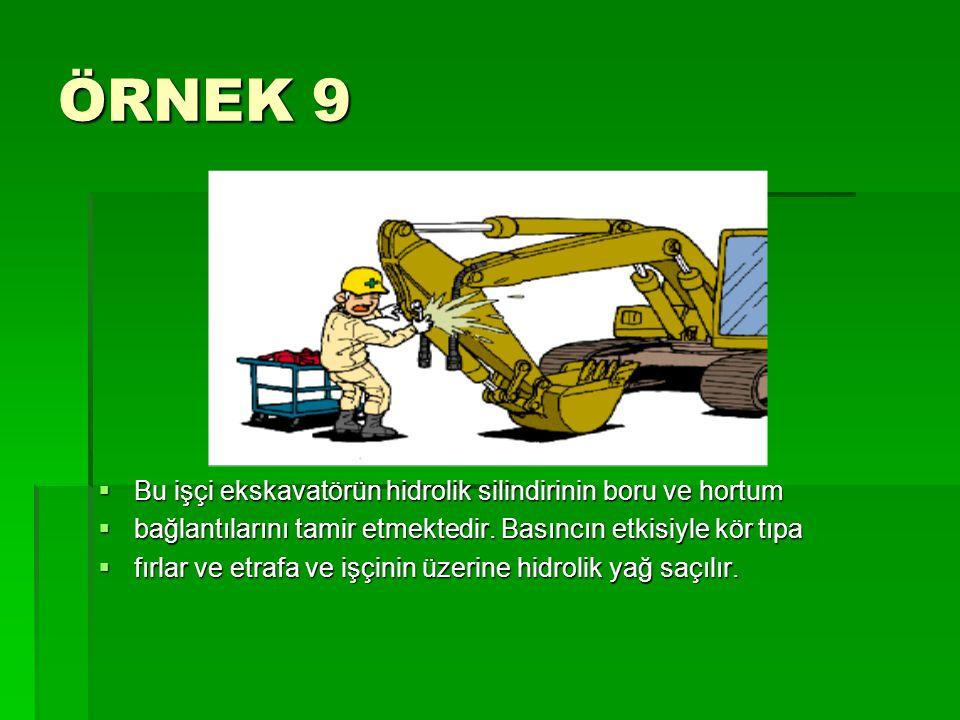 ÖRNEK 9 Bu işçi ekskavatörün hidrolik silindirinin boru ve hortum