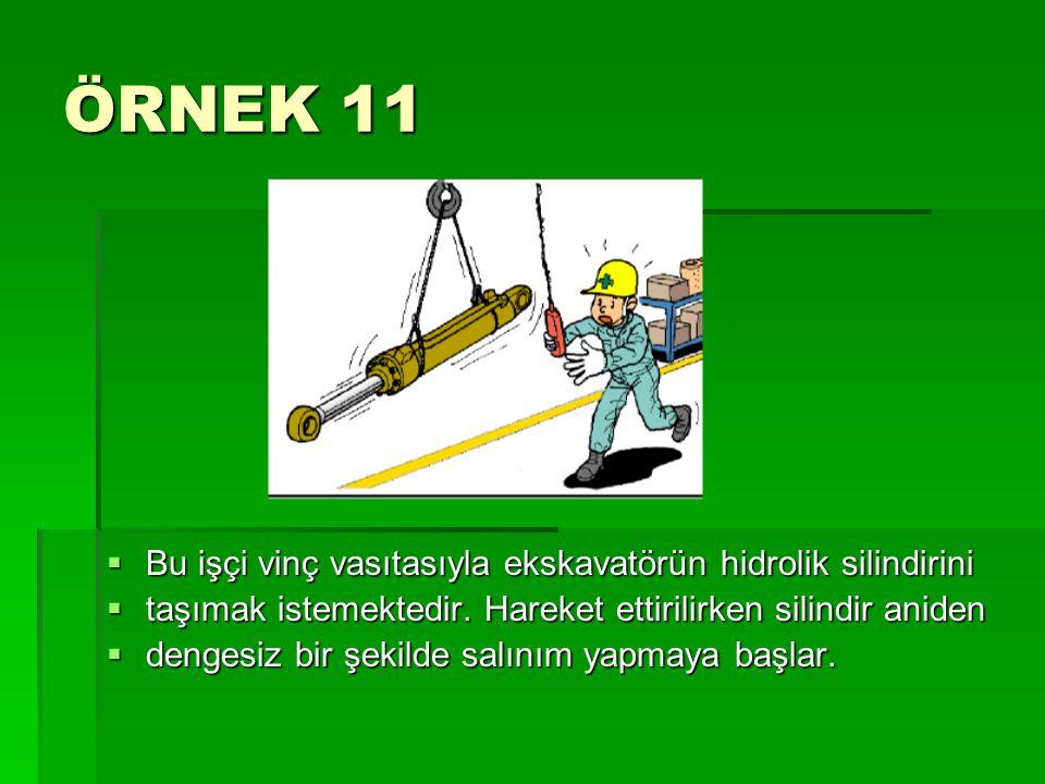 ÖRNEK 11 Bu işçi vinç vasıtasıyla ekskavatörün hidrolik silindirini