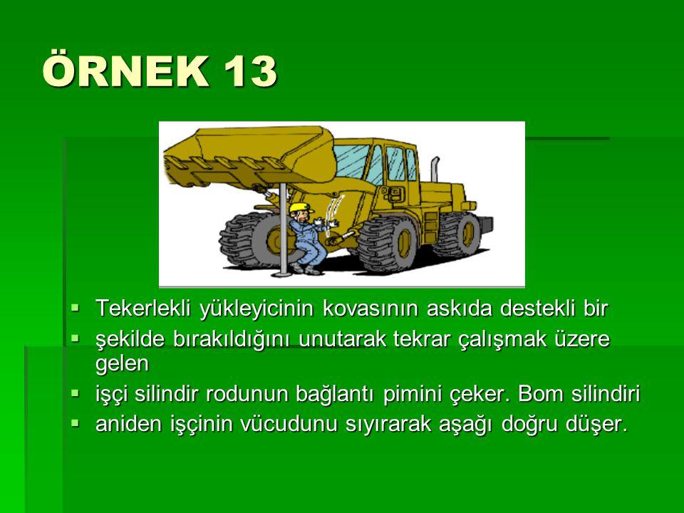 ÖRNEK 13 Tekerlekli yükleyicinin kovasının askıda destekli bir