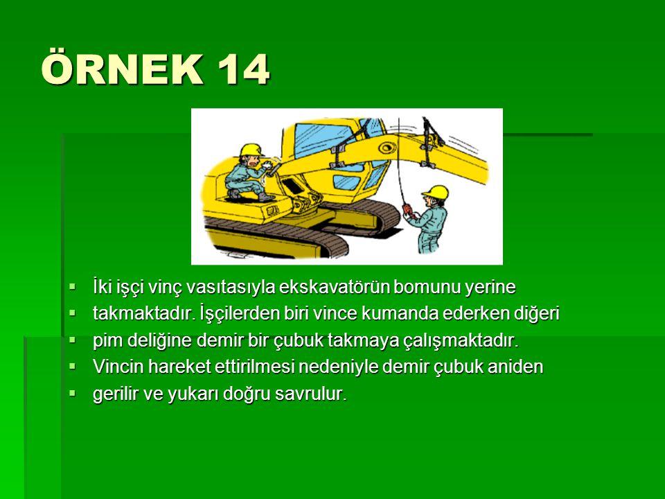 ÖRNEK 14 İki işçi vinç vasıtasıyla ekskavatörün bomunu yerine
