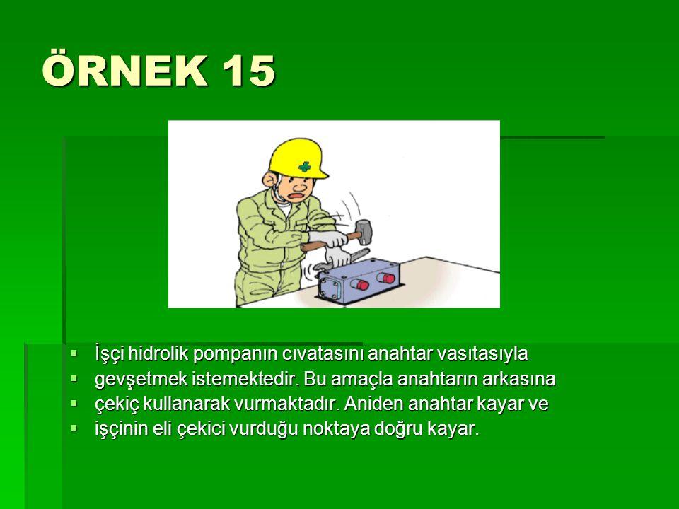 ÖRNEK 15 İşçi hidrolik pompanın cıvatasını anahtar vasıtasıyla