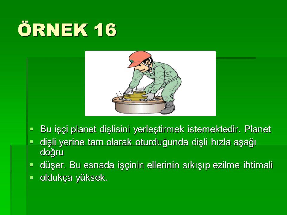 ÖRNEK 16 Bu işçi planet dişlisini yerleştirmek istemektedir. Planet
