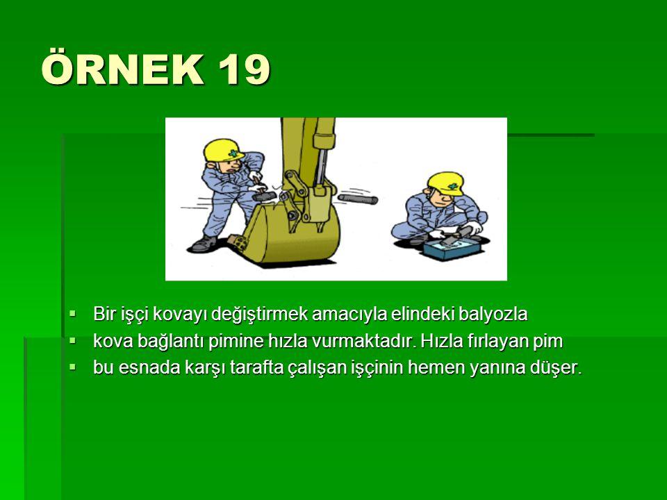 ÖRNEK 19 Bir işçi kovayı değiştirmek amacıyla elindeki balyozla