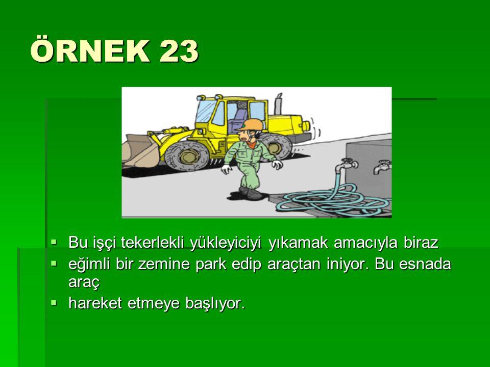 ÖRNEK 23 Bu işçi tekerlekli yükleyiciyi yıkamak amacıyla biraz