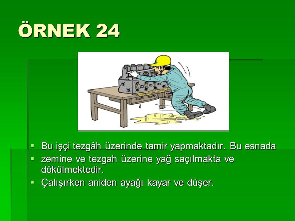 ÖRNEK 24 Bu işçi tezgâh üzerinde tamir yapmaktadır. Bu esnada