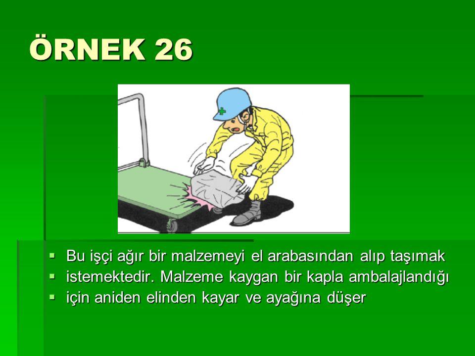ÖRNEK 26 Bu işçi ağır bir malzemeyi el arabasından alıp taşımak
