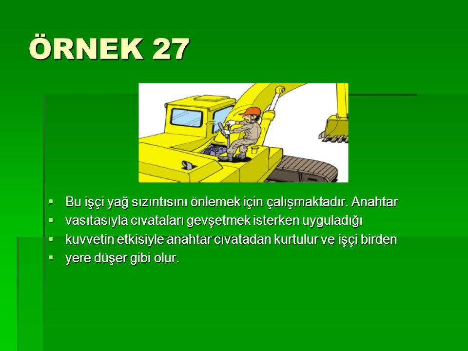 ÖRNEK 27 Bu işçi yağ sızıntısını önlemek için çalışmaktadır. Anahtar